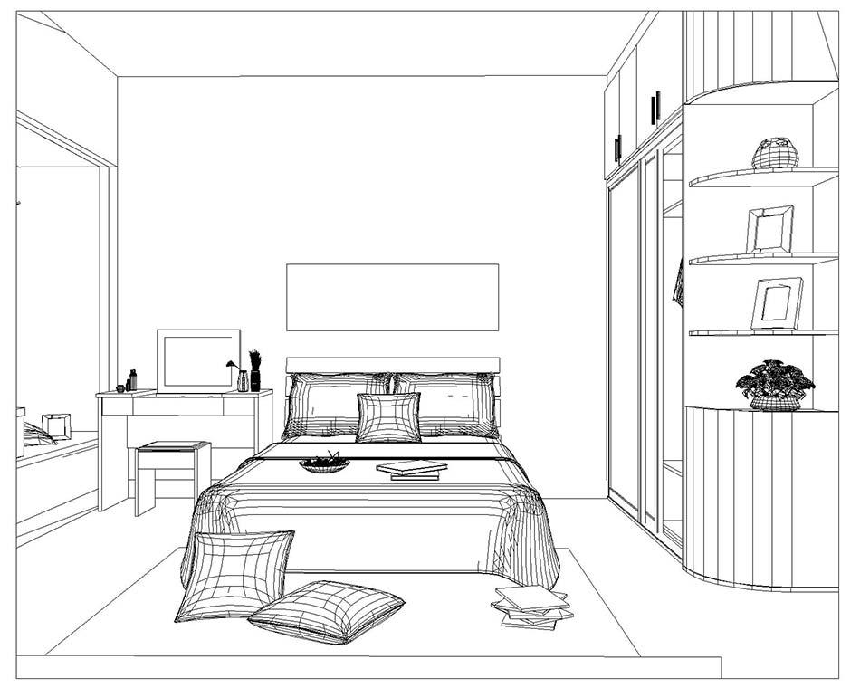 卧室简笔画矢量图